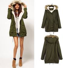 military green women winter hooded faux fur trench coat parka overcoat jacket