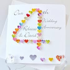 Wedding Anniversary Greeting Card Designs 4th Wedding Anniversary Card Handmade Personalised 4th