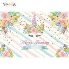 <b>Yeele</b> Unicorn <b>Birthday</b> Party Flower Gold Spots Stripes <b>Baby</b> ...