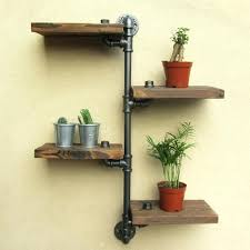 industrial rustic urban iron pipe wall shelf 4 tiers wooden board industrial rustic urban iron pipe