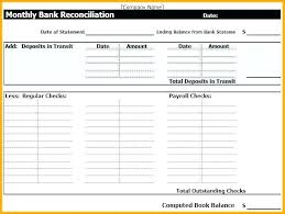 Bank Reconciliation Statement Template Business Excel