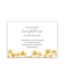wedding reception card rustic fall leaves wedding reception information cards