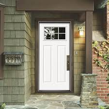 white front doorsJELDWEN Premium 6 Lite Craftsman Primed White Steel Entry Door