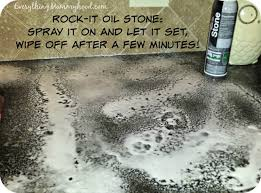 rock it oil stone was so easy to use all you have to do is hold the can back about 8 12 inches and spray a foamy layer on your countertops