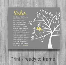 sister gift my sister my friend personalized sister gift tree birds wedding birthday gift maid of ho
