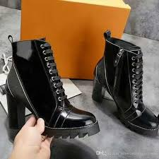 black patent leather lace up martin boots high heels side zipper shoes latter ribbon patchwork las short ankle booties boots for men girls boots from