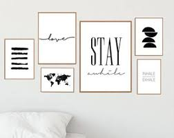 gallery wall set stay awhile sign set of 6 prints gallery wall prints printable wall decor poster set inhale exhale gallery wall art  on gallery wall art prints with gallery wall prints etsy