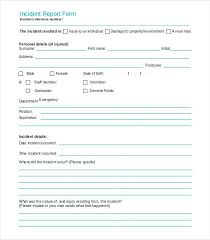 Blank Incident Report Form Template Iinan Co