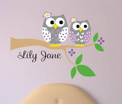 personalized owl decal name wall decal owl wall decals tree branch with owl sisters wall decal