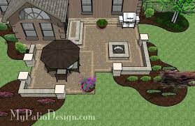 concrete patio with square fire pit. Designing A Patio Layout Square Foot Design With Seating Walls Built In Fire Pit And Concrete