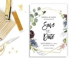 Save The Date Template Editable Save Date Wedding Date Card Add Your Photo Gold Geometric Boho Greenery Plum Blush Printable Download