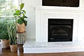 subway tile fireplace