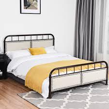 Costway Queen size Metal Bed Frame Platform Bed Upholstered Panel Headboard Footboard