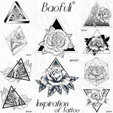 геометрическая роза треугольник временные татуировки наклейки пион цветочные
