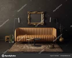 Zwarte Woonkamer Met Sofa Bruin Lamp Scandinavisch Interieur Design