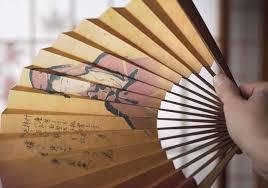 "Japanese Fan Display Stand Japanese Folding Hand Fan ""Sensu"" And Display Stand Set Utamaro 53"