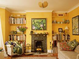 Yellow Wall Living Room Decor Yellow Wall Theme And Yellow Wooden Wall Shelves Added By Dark