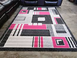 pink gray rug 5x8 modern contemporary geometric area rugs new free