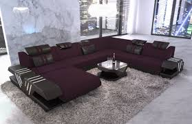 fabric sectional sofas. Luxury Sectional Sofa Fabric Beverly Hills XXL Microfibre Lilac - Mineva 13 Sofas T