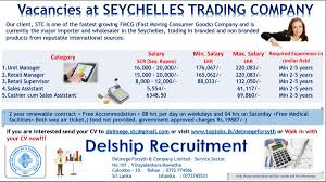 cashier cum s assistant seychelles job vacancy in sri lanka our client stc is one of the fastest growing fmcg fast moving consumer goods company and is currently the major importer and whole r in the seychelles