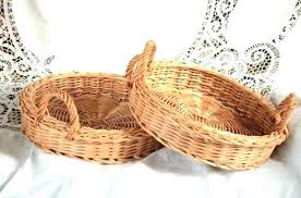 white wicker tray round small table basket by