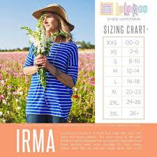 Irma Size Chart Lularoeirma Irma Irmatop Irmatunic Shop