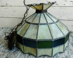 Vintage Stained Glass Lamp Shade Or Replacement Globe   Antique Hallway / Kitchen  Lighting + Decor