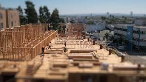 Workers Building Construction Site Los Angeles Tilt Shift Miniature