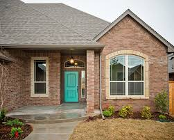 turquoise front doorTurquoise Front Door on Brick Home  Transitional  Exterior