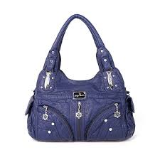 hot designer angel kiss women soft leather handbag multi pocket solid casual shoulder bag newchic