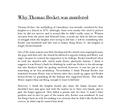 why was thomas beckett murdered gcse history marked by  document image preview