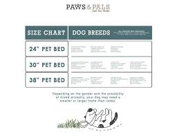 Pet Bed Size Chart Paws Pals Dog Bed For Pets Cats Fuzzy Foam Deluxe