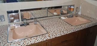 tile bathroom countertop ideas. 1960s-tile-bathroom-countertop-including-recessed-metal-cabinet Tile Bathroom Countertop Ideas