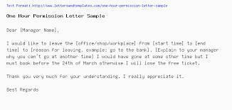 Permission Letters Template One Hour Permission Letter Sample
