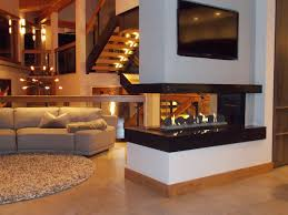 contemporary living room rh houzz com 3 way fireplace for 3 way fireplace designs