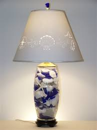 blue glass lamp. Seashell And Blue Glass Lamp O