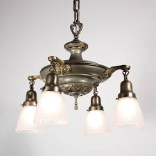 sold antique art nouveau pan light fixture with original glass shades early 1900 s