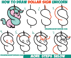 drawing lesson for children and beginners how to draw a cute cartoon unicorn kawaii from a dollar sign easy step