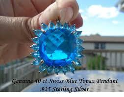 genuine 40 ct swiss blue topaz pendant