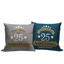 silver jubilee 25th wedding anniversary gift relatives set of 2 printed cushion with filler