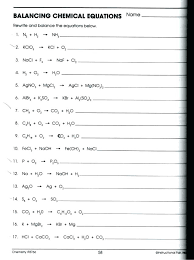 balancing chemical word equations worksheet with answers