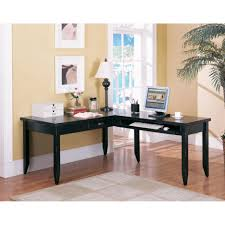 l shaped home office desk. Home Office Simple Furniture Of Black L Shaped Corner Desk Designed With Tapered Legs Complete Cream Rug On The Brown Floor Combine Beige Wall Paint Desks F