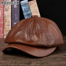 <b>XdanqinX Genuine Leather Hat</b> Autumn Men's Cowhide Leather ...