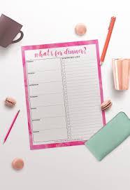 Printable Weekly Dinner Menu Free Printable Weekly Dinner Menu Shopping List