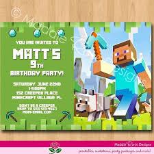 Minecraft Birthday Invitations Awesome Minecraft Birthday