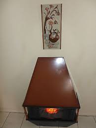 mid century electric fireplace works brown forced air heater glowing logs retro