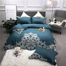 egyptian cotton luxury royal bedding set queen king size bed set embroidery green pink duvet cover