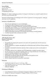 Surgery Tech Sample Resume