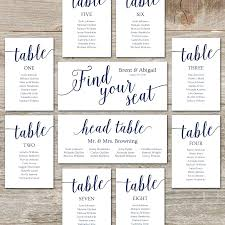 template reception seating chart template wedding cards editable printable navy decor round tables