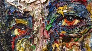m942 original modern oil painting large impressionist art impasto face 3d texture painter artist